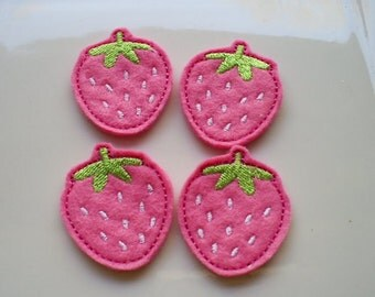 Bright Pink Strawberries-  Machine Embroidered Appliques - Set of 4
