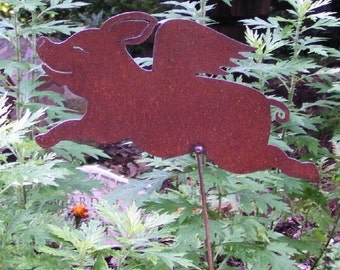 Rusty Metal Pigs Fly Angel Garden Art Yard Stake Pig