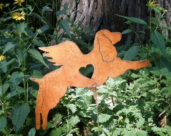 Rusty Finish English Springer Spaniel Dog Angel Memorial Garden Art Stake