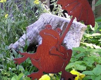 Rusty Finish Metal Garden Art Frog Yard Stake with Umbrella