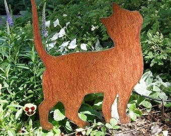 Rusty Finish Kitten Cat Silhouette Garden Art Yard Stake