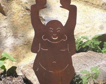 Rusty Finish Garden Happy Buddha Yard Art Stake