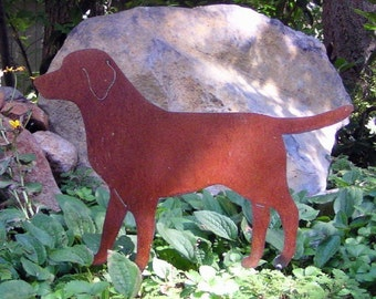 Rusty Finish Lab Labrador Retriever Metal Garden Art Yard Stake