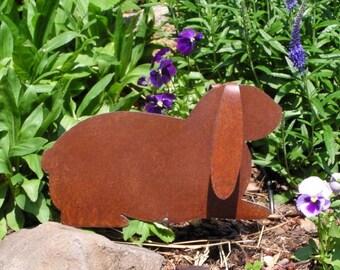 Rusty Finish Metal Garden Art Lop Earred Bunny Rabbit Yard Stake