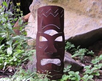 Rusty Finish Hawaiian Tiki Metal Garden Art Yard Stake