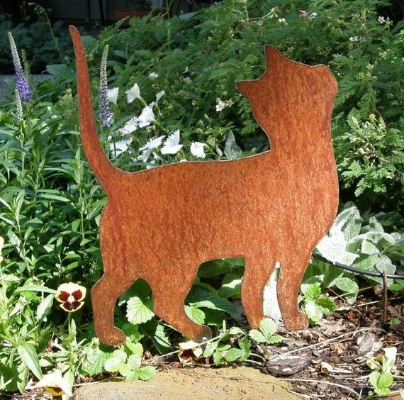 Rusty finish kitten cat silhouette garden art yard stake for Cat yard art