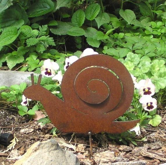 Items Similar To Rusty Finish Metal Garden Art Snail Yard