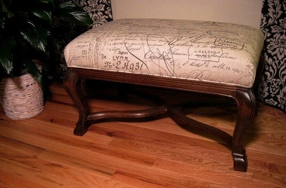 New Script Writing Fabric Ottoman in a Carved Frame - Walnut Finish