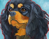 Cavalier King Charles Spaniel No. 4 - Black and Tan 8.5x11""
