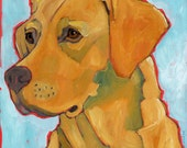 "Labrador No. 3 - Yellow lab 2x3"" magnet from original oil painting"
