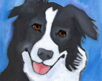 Border Collie No. 2 - Set of 6 Blank Cards with Envelopes in Clear sleeve