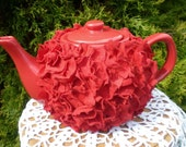 Red Ceramic Teapot with Red Faux Flower Petals