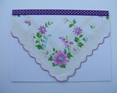 Blank Greeting Card with Purple Flowers