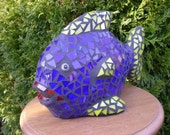 Mosaic Glass Fish Blue Yellow and Red Lips