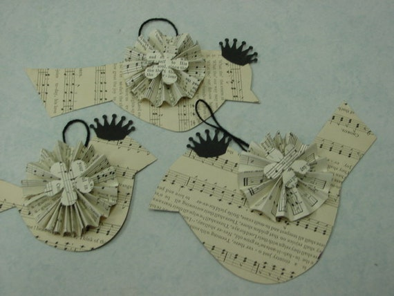 ALTERED art BIRD TAGS / vintage sheet music birds with crowns / set of three