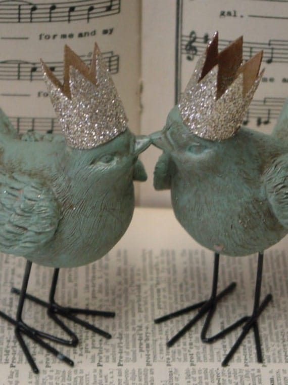 No. 5 / Little birds with crowns WEDDING CAKE TOPPERS / gender neutral wedding cake toppers