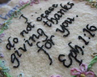 Hand Embroidery Patterns for Keepsake Thank You, Thinking of You, Get Well and Anniversary Gifts with Bible Verses