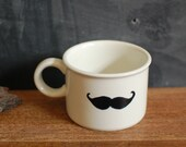 Set of 3 - Hand Painted Mustache on Vintage Midwinter Mugs