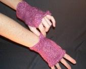 Purple and How, Handknit Fingerless Gloves
