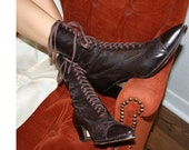 EDWARDIAN Leather LACE UP Boots Sz 7