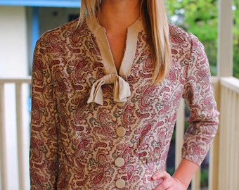 1960s Paisley Matching Skirt and Blouse