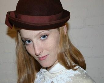1940s BROWN WOOL HAT
