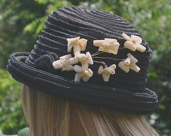 VINTAGE EARLY 20TH C BLACK HAT