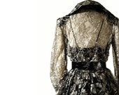 Vintage 80s 1950s Style Cocktail Party Dress - Full Skirt Black and Silver Lace Dramatic S