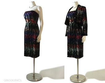 Vintage 60s LILLI DIAMOND Cocktail Dress Jacket Set - Dark Rainbow Sequin Dress Set S / M