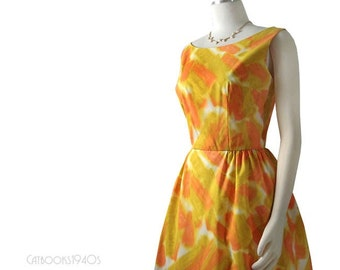 Vintage 60s Mad Men Summer Dress M - Watercolor Print Full Skirt Dress