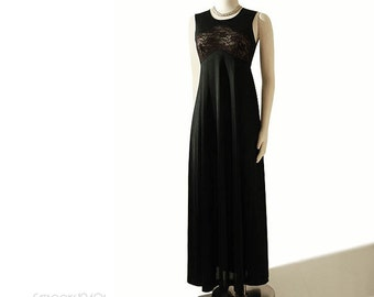Vintage Donald Brooks Nightgown S - 1970s Black Lace Cut-out Bodice