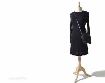 Vintage JEAN MUIR Dress - Slinky Black Jersey 1980s Mini Dress S