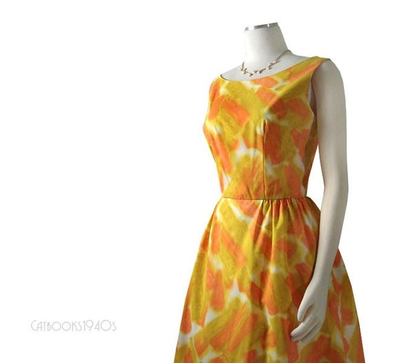 Vintage 60s Mad Men Summer Dress M - Watercolor Print Full Skirt Dress