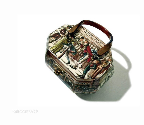 Vintage 60s Decoupage Box Purse - Lucite Handle Octagon Handbag