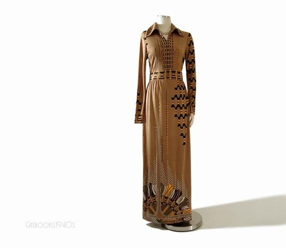 Vintage 70s Paganne Maxi Dress - Signed Art Deco Print Fabulous - Size M