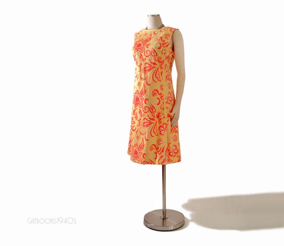 Vintage 60s A Line Summer Dress - Hand Printed Yellow Coral Orange Floral M