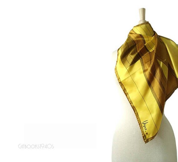 Vintage 1960s VERA NEUMANN Scarf - Yellow Gold Silk Geometric Vera Scarf Signed Ladybug