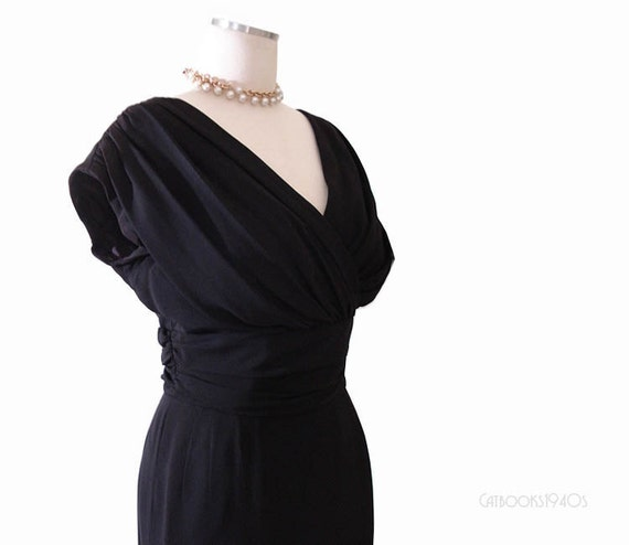 Vintage 60s Wiggle Dress - Black Designer Hourglass Dress Mad Men Joan M