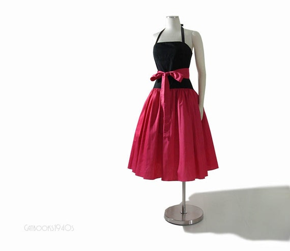 Vintage 80s 50s Full Skirt Dress S - Pink Black Sundress Halter Summer Dress