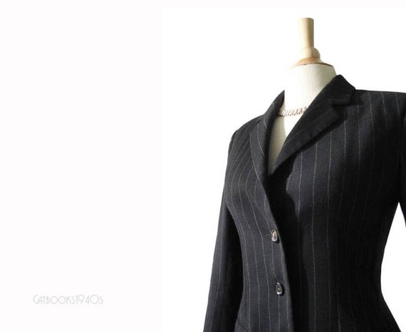 Vintage YSL Jacket - Yves St Laurent Rive Gauche Jacket Black Pinstriped S / M