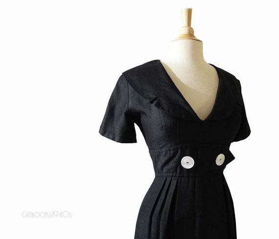 Black Vintage 1960s Sailor Dress S - Silk Shantung Blend Nautical Dress