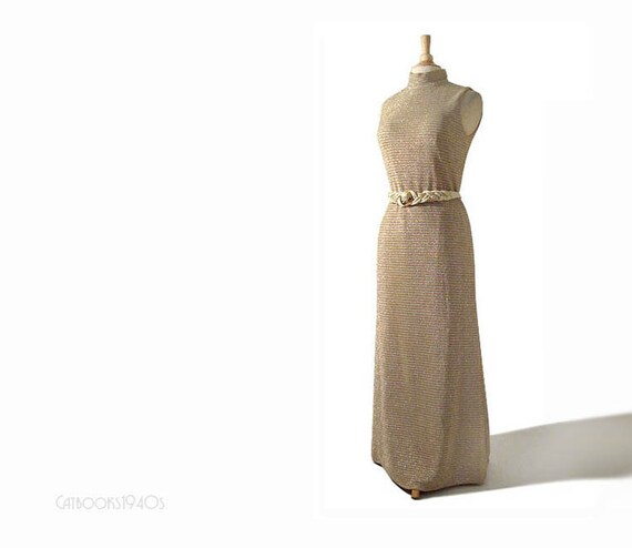 Vintage 1960's Evening Dress M - Metallic Dress Gold Silver Striped Knit