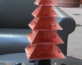 Origami Christmas Tree Glowing Red