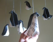 Musical Origami Penguin Mobile