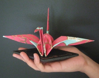 Extra Large Origami Crane -  Light Reddish Pink and Light Turquoise with Gold Lines