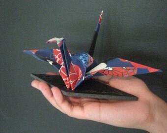 Large Origami Crane - Japanese Folklore Dolls on Blue