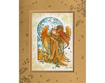 Double Matted Embellished 5x7 Print Angel of Autumn with Swarovski Crystal and Ink Drawing