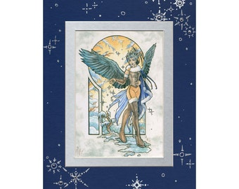 5x7 Double Matted Embellished Print Angel of Winter with Swarovski Crystal and Metallic Silver Ink