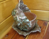 Earthy Grape Leaves Planter with Accents of Turquoise - An OOAK Creation by Jarita