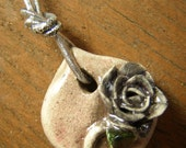 A Silvery Rose Whispers of a Delicate Romance - A Very Special Raku Pendant